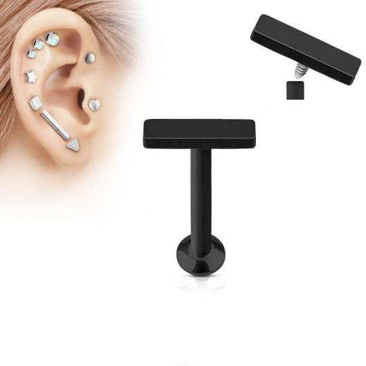Černý piercing do brady - labreta 1,2 x 6 mm, obdélník 2 x 6 mm