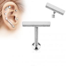 Piercing do brady - labreta 1,2 x 6 mm, obdélník 2 x 9 mm