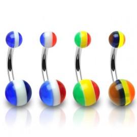 Piercing do pupíku, barva hnědá/černá/žlutá/oranžová