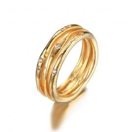 Zlacený stříbrný prsten se zirkony