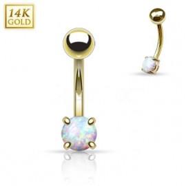 Zlatý piercing do obočí s opálem, Au 585/1000