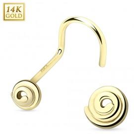 Zlatý piercing do nosu - spirála, Au 585/1000