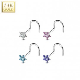Zlatý piercing do nosu - hvězda, Au 585/1000