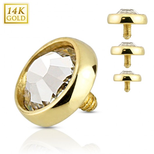 Zlatý piercing - dermál zirkon, Au 585/1000