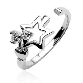 Stříbrný prstýnek na nohu - hvězda