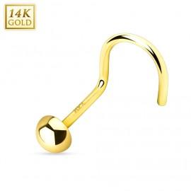 Zlatý piercing do nosu půlkulička, Au 585/1000