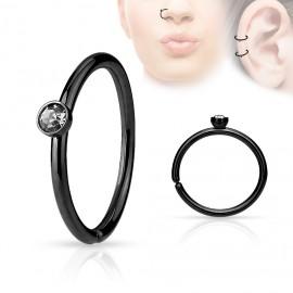 Černý piercing do nosu/ucha kruh