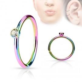 Duhový piercing do nosu/ucha kruh