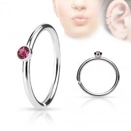 Piercing do nosu/ucha kruh s růžovým kamínkem