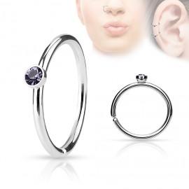 Piercing do nosu/ucha kruh se světle fialovým kamínkem