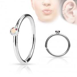 Piercing do nosu/ucha kruh s duhovým kamínkem