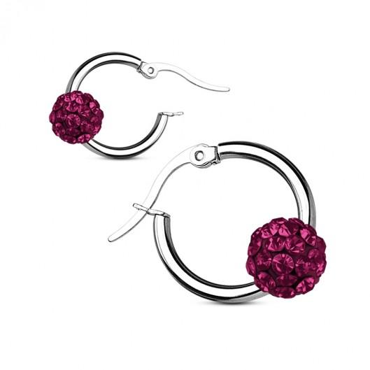 Ocelové náušnice kroužky, fialové kamínky
