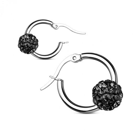 Ocelové náušnice kroužky, černé kamínky
