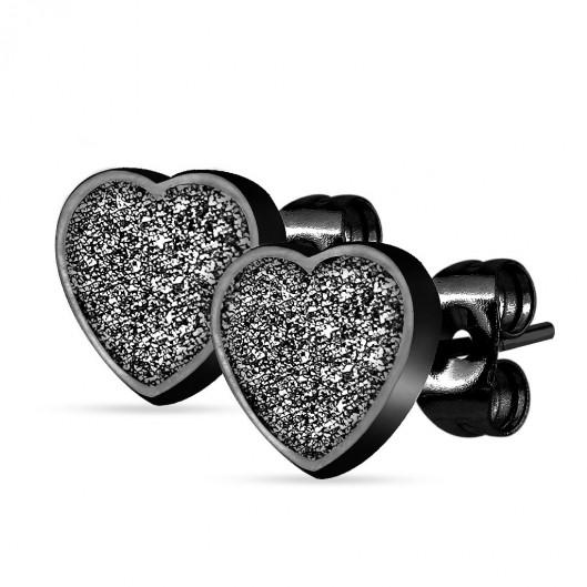 Černé ocelové náušnice srdíčka
