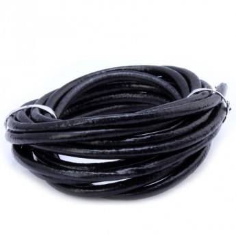 Kožená šňůrka kulatá černá, tl. 4 mm , 10cm