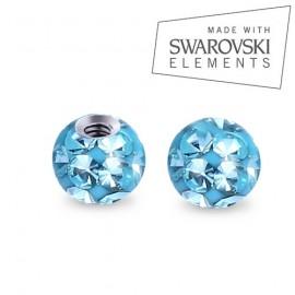 Náhradní kulička s krystaly Swarovski®, 3 mm, závit 1,2 mm