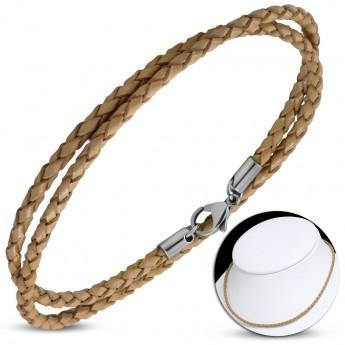 Kožený náhrdelník splétaný - ocelový uzávěr, tl. 3 mm, délka 45 cm