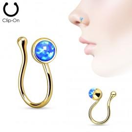 Zlacený falešný piercing do nosu - klips opál modrý