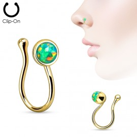 Zlacený falešný piercing do nosu - klips opál zelený