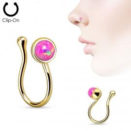 Zlacený falešný piercing do nosu - klips opál růžový