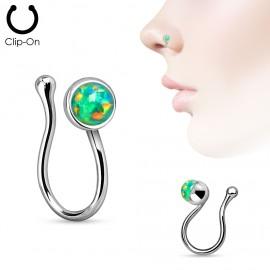 Falešný piercing do nosu - klips opál zelený