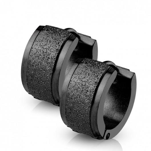 Černé ocelové náušnice - kroužky