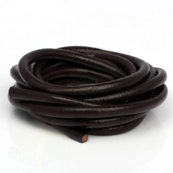 Kožená šňůrka kulatá tmavě hnědá, tl. 5 mm