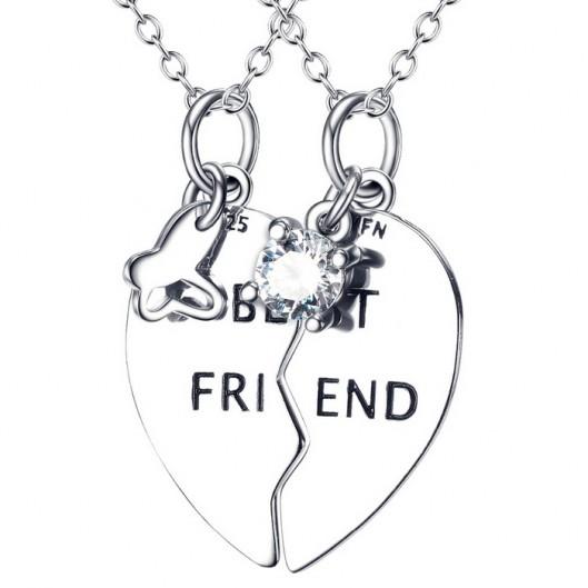 """Stříbrný náhrdelník srdce půlené """"BEST FRIENDS"""""""
