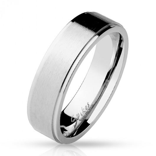 Matný ocelový prsten, šíře 6 mm