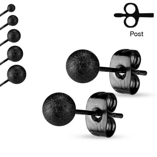 Ocelové náušnice - kuličky černé matné