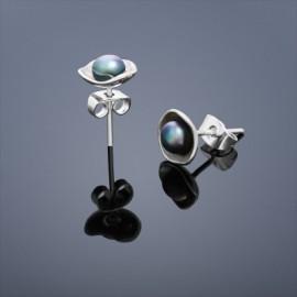 Perlové náušnice Buka Lotus – černé perly