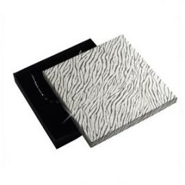 Velká krabička na soupravu šperků, stříbrná/ zebrovaná