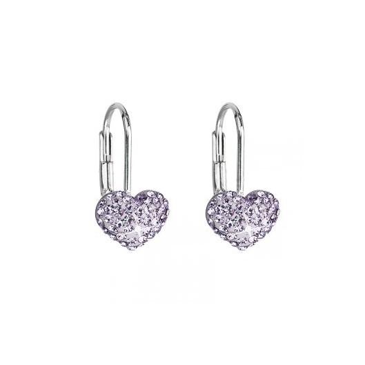 Dívčí stříbrné náušnice srdíčka s krystaly Crystals from Swarovski®, Violet
