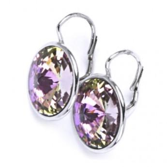 Stříbrné náušnice s kameny Crystals from SWAROVSKI®, barva: VITRAIL LIGHT