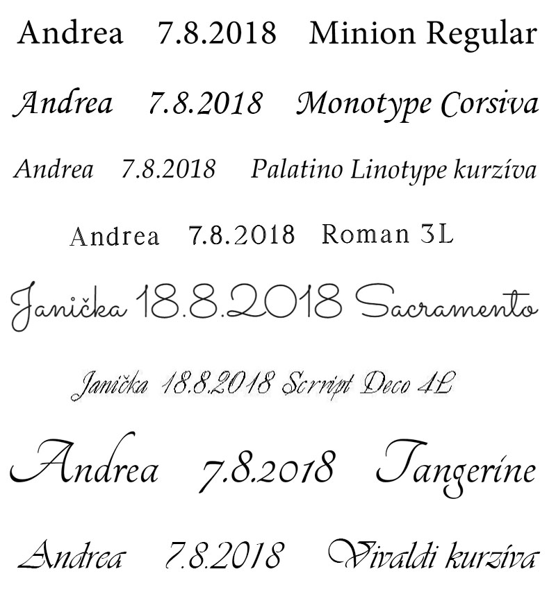 Písma (fonty) pro rytí/gravírování do šperků