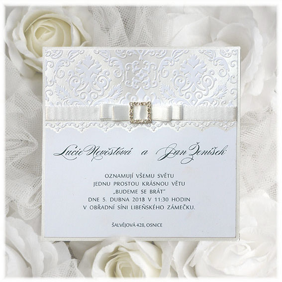 Svatební oznámení bílé s krajkou